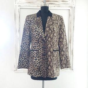 Vintage Louis Feraud Wool & Silk Cheetah Snakeskin Color Block Long Line Blazer